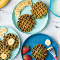 Healthy green spinach waffles for toddlers